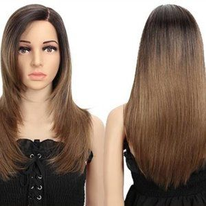 Ombre layered wig with a large mono side part